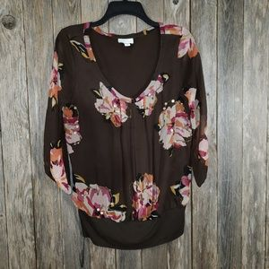 Charter Club Brown Floral Embellished Top Blouse